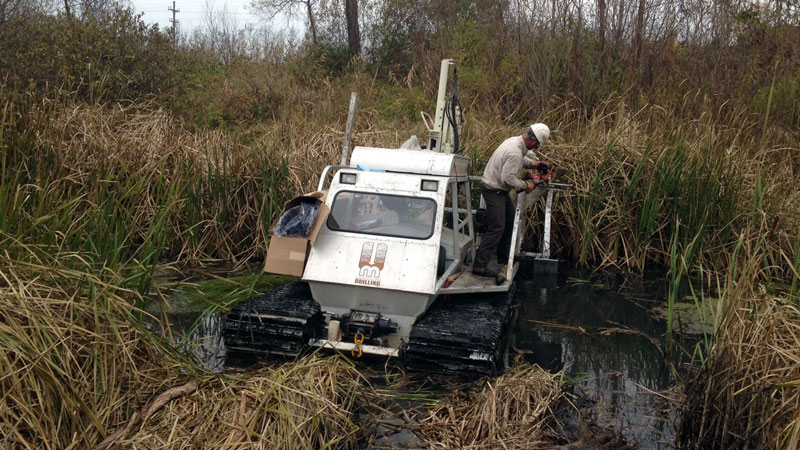 Marsh master in wetlands sediment sampling