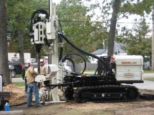 Geo probe 8140 DT Sonic Rig. Monitoring well instillation